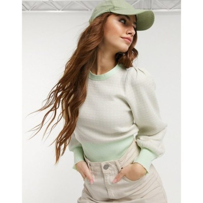 QEDロンドン レディース ニット&セーター アウター QED London puff sleeve contrast trim sweater in sage green Sage/neutral