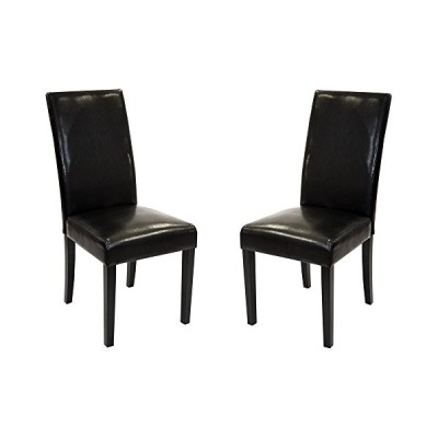 Armen Living High Back Leather Dining Chair, Black Leather, Set of 2[並行輸入品]