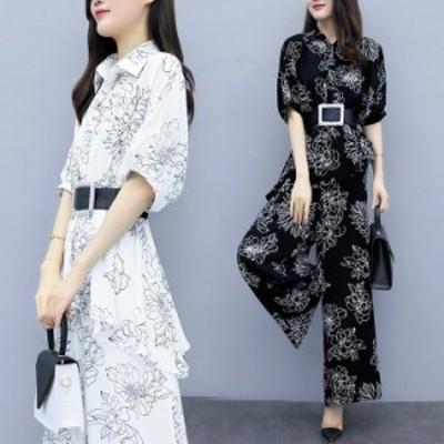 半袖 セットアップ 花柄 レディース 夏 40代 通勤セット ゆったり オシャレ 大きいサイズ 韓国風 2色 オフィス