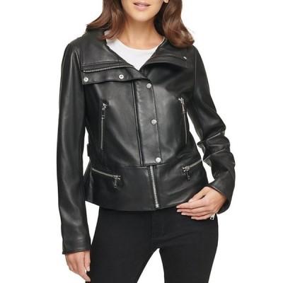 ダナ キャラン ニューヨーク レディース ジャケット・ブルゾン アウター Genuine Lambskin Leather Snap Front Moto Jacket