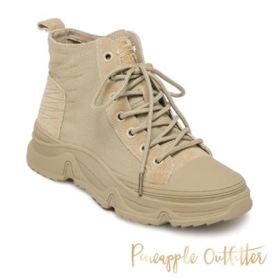 Pineapple Outfitter-BECKY 率性布面綁帶低筒女短靴-卡其色
