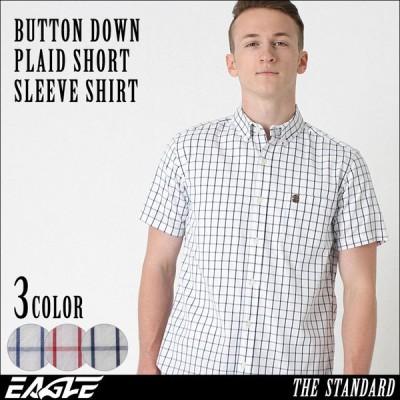 【送料無料】 シャツ 半袖 メンズ ボタンダウン チェック柄 大きいサイズ 日本規格 ブランド EAGLE STANDARD イーグル 半袖シャツ