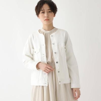 エージー バイ アクアガール AG by aquagirl 【洗える】デニムノーカラーブルゾン (アイボリー)