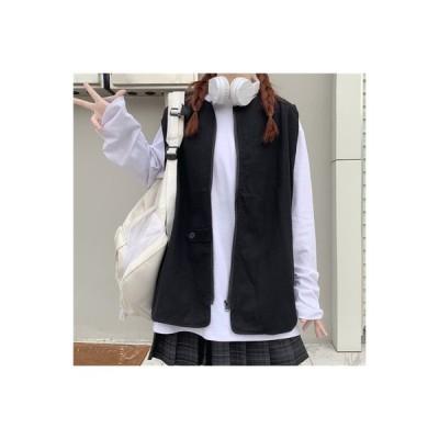 【送料無料】秋 韓国風 ルース 丸襟 ノースリーブ 何でも似合う 学生 ジッパー カ | 346770_A63854-1433567