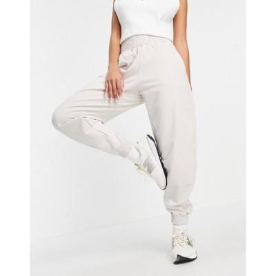ベルシュカ レディース カジュアルパンツ ボトムス Bershka oversized sweatpants with waistband detail in beige