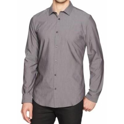 Calvin Klein カルバンクライン ファッション アウター Calvin Klein Mens Shirt Gray Size XL Sli Fit Button Down Long-Sleeve