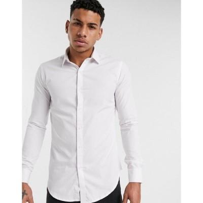 ルブレーブ メンズ シャツ トップス Le Breve poplin shirt in muscle fit in white White