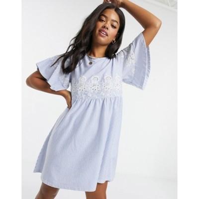 エイソス レディース ワンピース トップス ASOS DESIGN smock mini dress in stripe with embroidery detail in blue and white