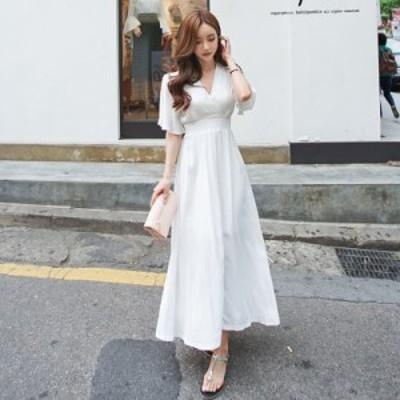 ふんわり フレア ボリューム スカート ロング ドレス 2color