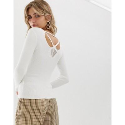 ミスセルフフリッジ レディース ニット&セーター アウター Miss Selfridge sweater with lattice back in cream Cream
