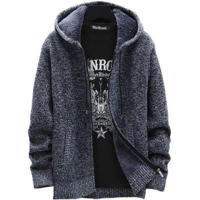 [THREENINE] ジャケット メンズ フード付き ジップパーカー 裏起毛 ニット 厚手 カジュアル (M, ブラック)