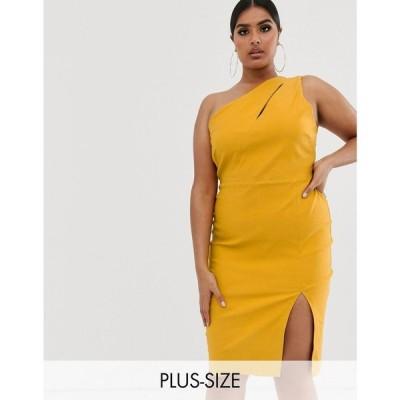 ベスパー Vesper Plus レディース ワンピース ペンシル ワンピース・ドレス one shoulder midi pencil dress in stretch with split in golden yellow