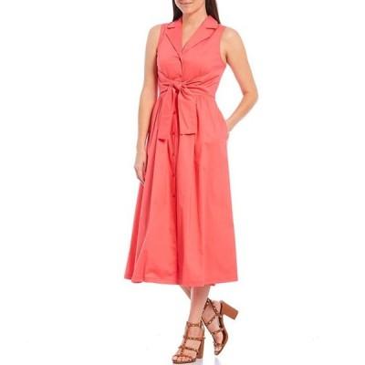 ダナ キャラン ニューヨーク レディース ワンピース トップス Sleeveless Tie Waist Cotton Poplin Button Front Midi Shirt Dress
