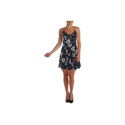 アクア ドレス ワンピース アクア 7413 レディース B/W Spaghetti ストラップs ミニ フローラル プリント カジュアル ドレス M BHFO