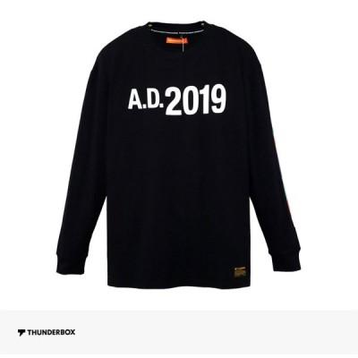 サンダーボックス THUNDERBOX A.D.2019 L/S TEE | BLACK Tシャツ ロンT ロングスリーブ 長袖 ロゴ 袖プリント オーバーサイズ メンズ ブラック