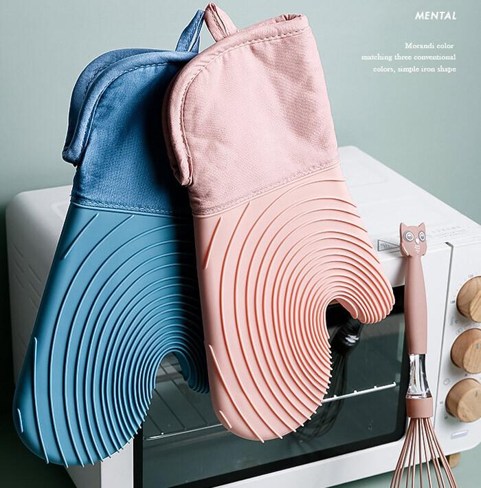 北歐風拼接隔熱手套(防滑矽膠+防燙棉層) 加厚防燙手套