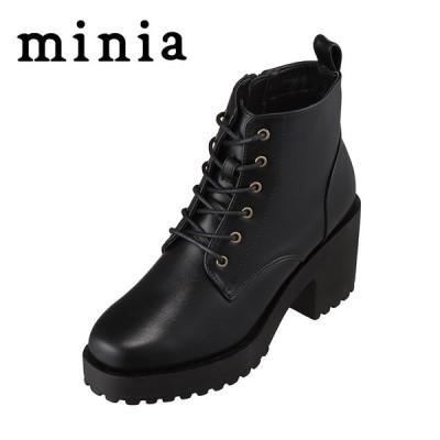 ミニア minia AS-1012 レディース | ブーツ | レースアップ 紐 | ショートブーツ | 定番 デザイン | ブラック