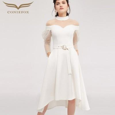【CONIEFOX】高品質★スタンドカラー肌透けチュールパールベルト長袖付きAライン膝丈ドレス♪ホワイト 白 ワンピース
