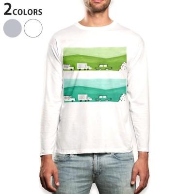 ロングTシャツ メンズ 長袖 ホワイト グレー XS S M L XL 2XL Tシャツ ティーシャツ T shirt long sleeve  車 乗り物 緑 014210