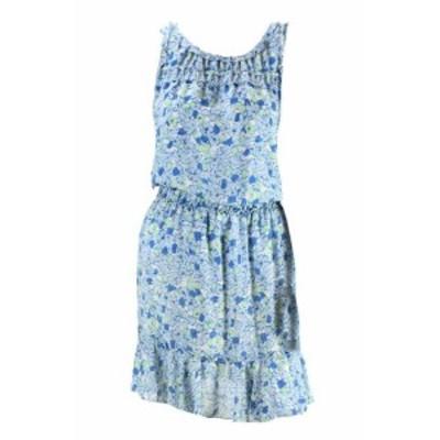 ファッション ドレス Studio M Blue Sleeveless Floral Fit & Flare Dress L