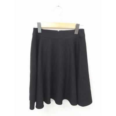 【中古】クイーンズコート QUEENS COURT スカート フレア ひざ丈 無地 シンプル バックファスナー ウール 1 ブラック