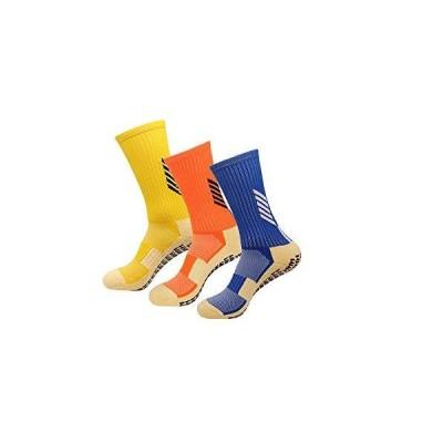 メンズスポーツソックス(男女兼用)3足組 滑り止めソックス トレーニング 靴下 ソックス サッカー バス ヨガソックス テニス 24-27.5cmイエ