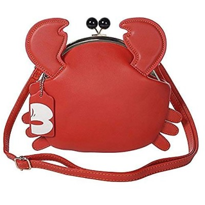 Wanghong がま口ショルダーバック レザー バック ショルダー カニ 蟹 2WAY 斜めがけ かばん 鞄 Crab Cancer