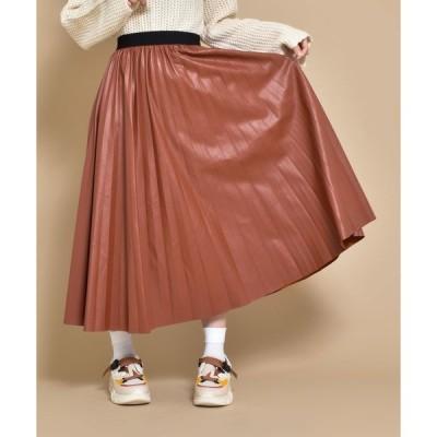 スカート フェイクレザー プリーツ スカート SVEC /シュベック
