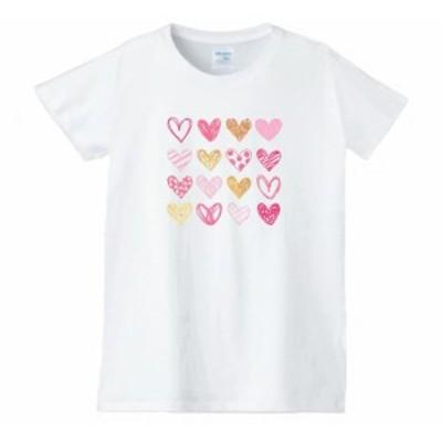 レディース ハート 星 虹 Tシャツ 白