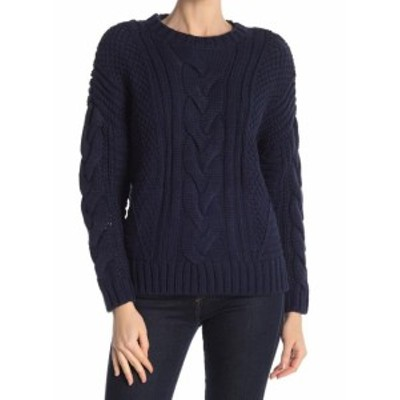 One  ファッション トップス One A Womens Blue Size Medium M Cable-Knit Crewneck Knitted Sweater