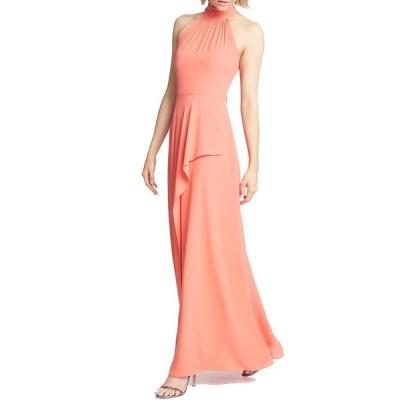 ホルストンヘリテイジ レディース ワンピース トップス Mock Neck Halter Front Ruffle Drape Detail Crepe Georgette Gown Tangerine