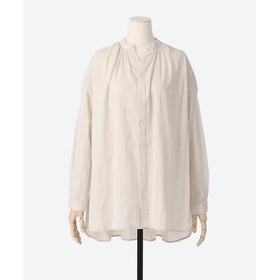 <GRANDMA MAMA DAUGHTER(Women)/グランマ ママ ドーター> 211 ドビーストライプチュニックシャツ LIGHT GRAY【三越伊勢丹/公式】