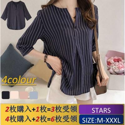 春夏の新しいファッションの大きいサイズのストライプのシャツの女の7分袖の上着のゆったりとしたシャツ