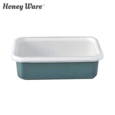 富士ホーロー Honey Ware Cotton 浅型角容器 レクタングル M スモークブルー CTN-M.SB 保存容器 ハニーウェア コットン CODE:334051