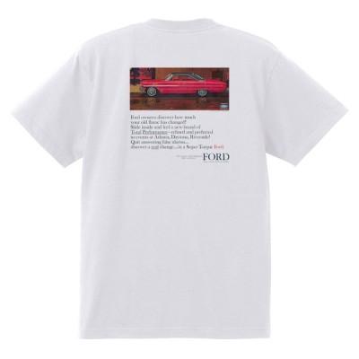 アドバタイジング フォード 788 白 Tシャツ 黒地へ変更可 1964 サンダーバード ギャラクシー ファルコン フェアレーン マスタング ブロンコ f100