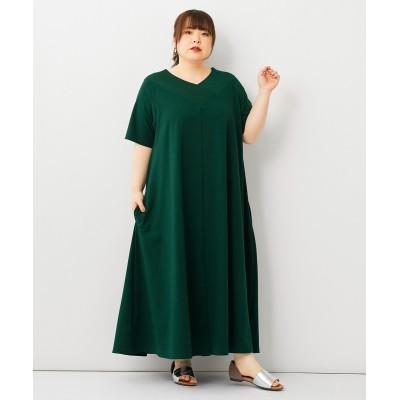 大きいサイズ ワイドリブネックカットソーAラインロングワンピース ,スマイルランド, ワンピース, plus size dress