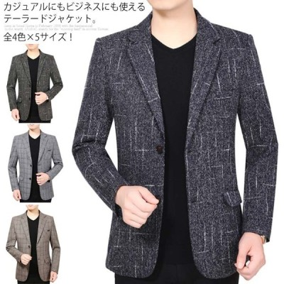 《送料無料》全4色×5サイズ!チェック柄ジャケット テーラードジャケット メンズ ジャケット テーラード アウター 紳士服 ビジネス チェック グレン