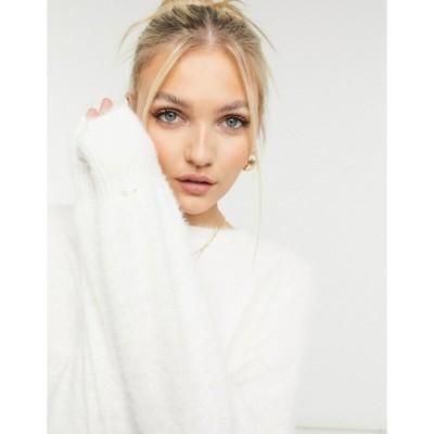 ニュールック レディース ニット&セーター アウター New Look volume sleeve fluffy sweater in white White