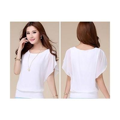 (DauStage) シフォン ブラウス レディース カットソー 半袖 フレア シャツ 大きいサイズ 5カラー ホワイト XXL