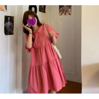 【取り寄せ】レディース ワンピース ひざ丈 半袖 ティアード フェミニン ガーリー スイート 可愛い ゆったり おしゃれ デイリー カジュア