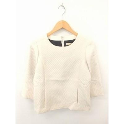【中古】アマカ AMACA カットソー Tシャツ キルティング バックファスナー 長袖 38 薄茶 ライトベージュ /TT6