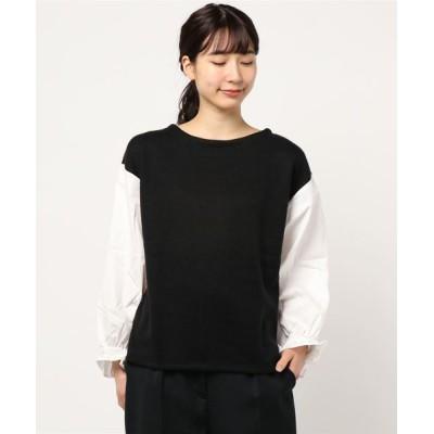 tシャツ Tシャツ サカリバ起毛×ブロード袖切り替えカットソー