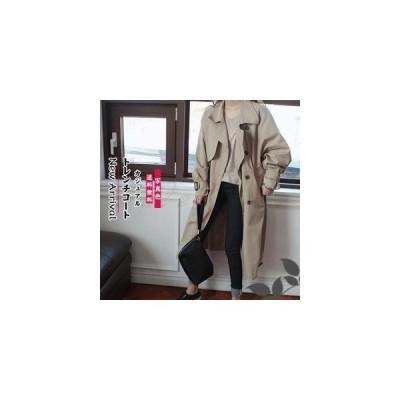 トレンチコート レディース ロングコート ダブルボタン 長袖 ゆったり きれいめ ベルト付き ビジネス カジュアル アウター 春秋 おしゃれ