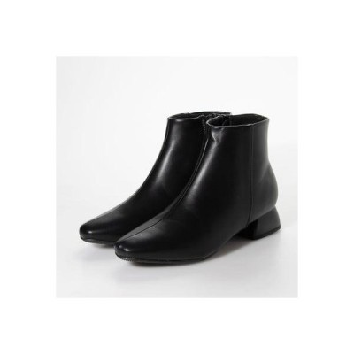 ジェリービーンズ JELLY BEANS フレアヒールプレーンショートブーツ 210-215 (黒)