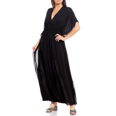 エラン レディース ワンピース トップス V-Neck Elbow Sleeve Smocked Waist Cutout Back Maxi Dress Black