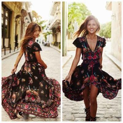 レディース ドレス ワンピース スカート フィッシュテール アシンメトリー ハイロウ 花柄 プランジング 半袖 エレガント セクシー 華やか キュート