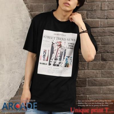 Tシャツ メンズ 半袖 ビッグシルエット 総柄プリント クルーネック ストリート