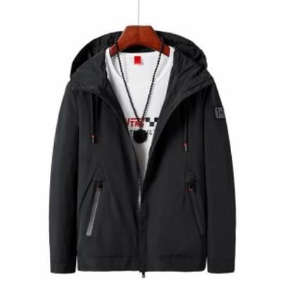 新品 ジャケット メンズ 春秋 5色 フード付き ショート トレンチコート スプリングコート アウター 大きいサイズ カジュアル シンプル