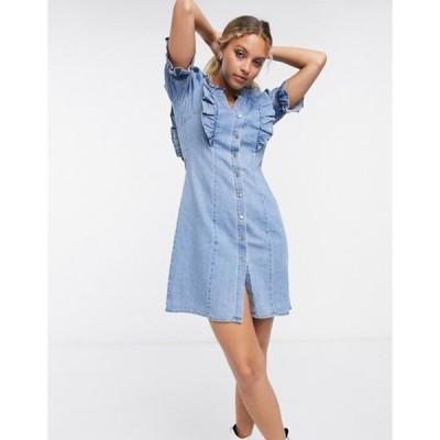オブジェクト レディース ワンピース トップス Object denim mini dress with button front and frill detail in light blue