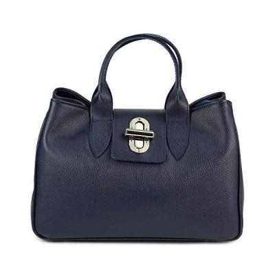 Belli〓 Womens Italian Genuine Leather Tote Bag Classic City Style Blue - 36,5x24x18 cm (W x H x D) 並行輸入品